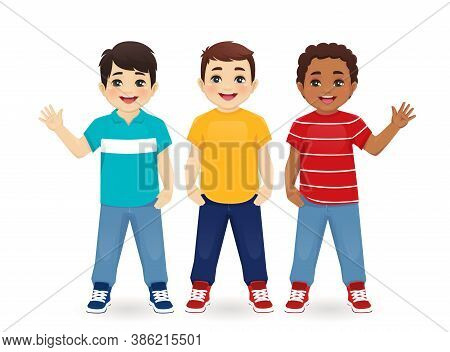 Multiethnic Boy Friends. Three Different Male Kid Faces. Asian, African And Caucasian Standing Isola