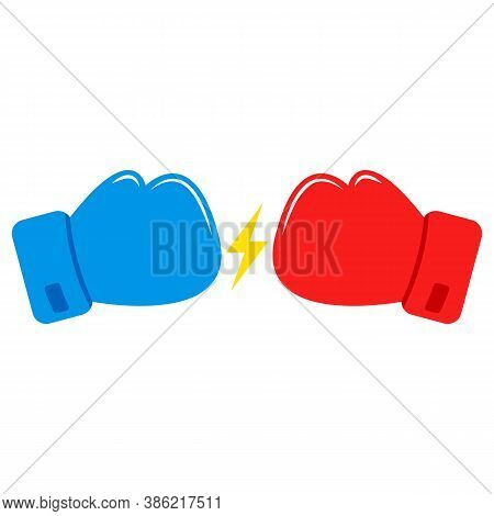 Red And Blue Boxing Gloves. Confrontation Between Boxing Gloves. Lightning Icon.
