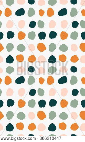Colorful Hand Painted Dots Seamless Vector Pattern. Painted Dots In Orange, Pink And Green Palette O