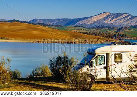 Caravan Camping On Nature, Countryside Surrounding Lake Embalse Del Guadalhorce, Ardales Reservoir,