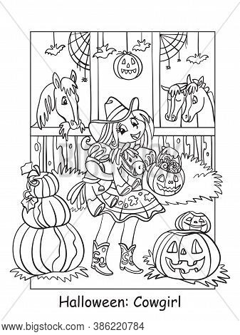 Vector Coloring Pages Girl In Costume Of Cowgirl In The Stable. Halloween Concept. Cartoon Contour I