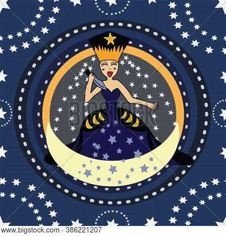 Queen Of The Night From Amadeus Mozart Magic Flute Opera. Lady In Sword In Hand, Seamless Pattern Ma