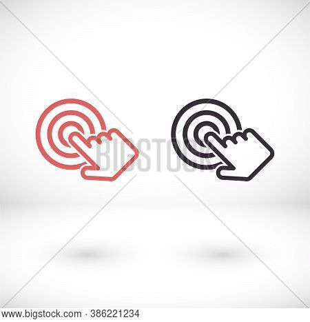 Hand Presses A Button Icon. Hand Cursor Sign Icon. Hand Pointer Symbol. Flat Icon Vector. Touch Icon