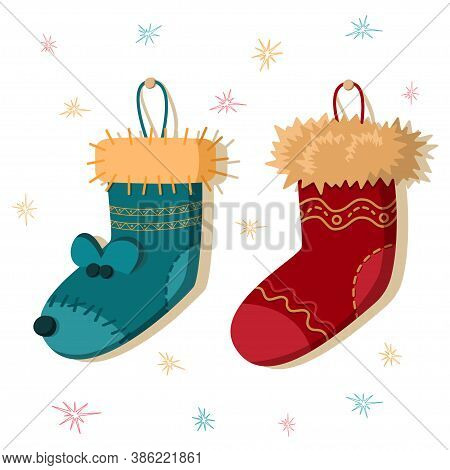 Stockings Christmas Background. There Are Two Christmas Stockings In The Range.