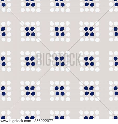 Indigo Folk Dotted Squares Seamless Vector Pattern. Folkish Design With Dots Forming Little Squares