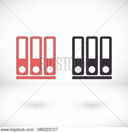 Vector Icon Row Of Binders, Design Illustration Row Of Binders. Flat Row Of Binders. Design Row Of B