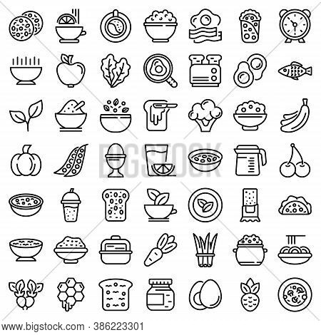 Healthy Breakfast Icons Set. Outline Set Of Healthy Breakfast Vector Icons For Web Design Isolated O