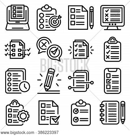 Assignment Icons Set. Outline Set Of Assignment Vector Icons For Web Design Isolated On White Backgr
