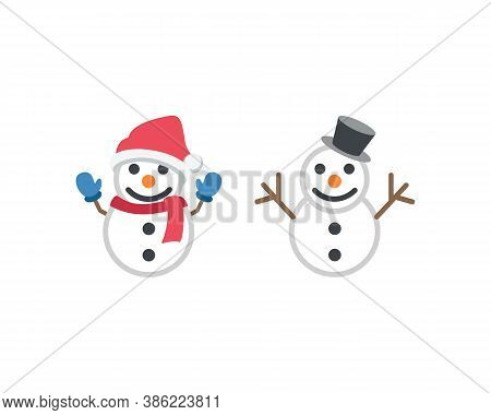 Snowman In New Years Clothes And Hat. Snowman Vector Illustration Eps10