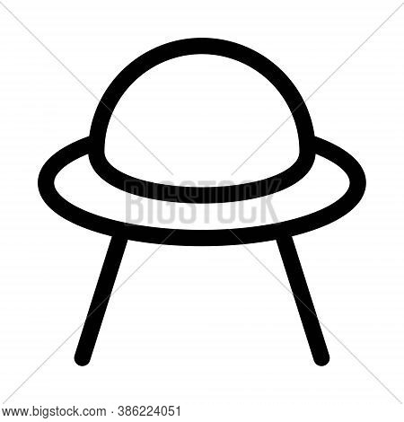 Ufo Icon In Line Style. Flying Saucer Icon. Alien Spaceship Sign.