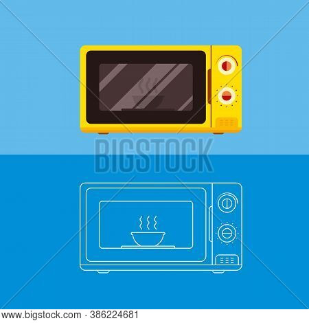 Microwave Oven With A Dish Inside.flat Vector Illustration.