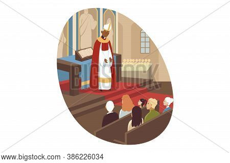 Joy, Christianity, Bible, Religion Concept. African American Man Priest Cartoon Character Leading Mo