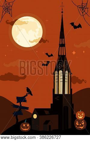 Halloween Vector Illustration With Gothic Catholic Church And Clock Tower.bats In The Twilight Sky,f