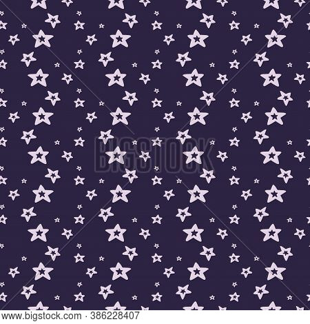 Seamless Pattern With Hand Drawn Stars On A Dark Background. Starry Vector Illustration. Cosmic Wall