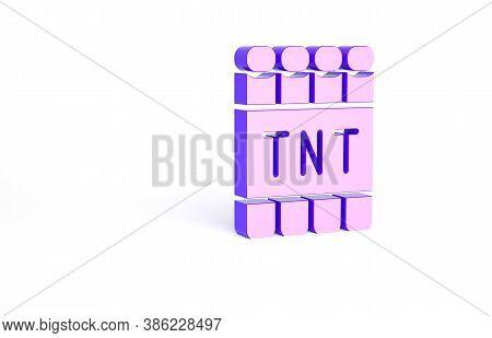Purple Detonate Dynamite Bomb Stick And Timer Clock Icon Isolated On White Background. Time Bomb - E