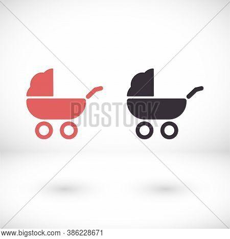 Baby, Carriage, Buggy, Pram, Vector Icon Stroller, Wheel Vector Icon. Vector Icon Illustration, Flat