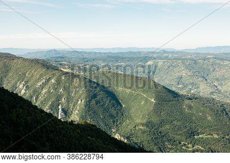 Panoramic View Of A Mountain Range Tara, Serbia