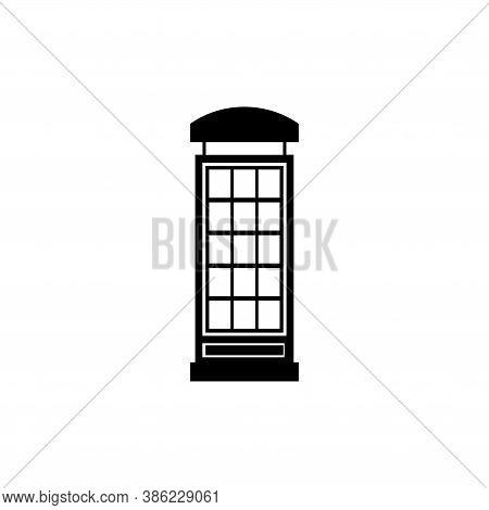 English Phone Booth, London Telephone Box. Flat Vector Icon Illustration. Simple Black Symbol On Whi