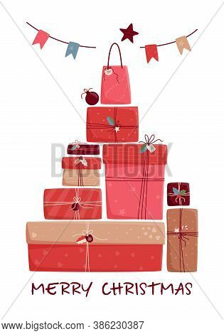Big Pile Of Wrapped Gift Boxes In Red Tones With Decorative Elements Isolated On White. Boxing Day O