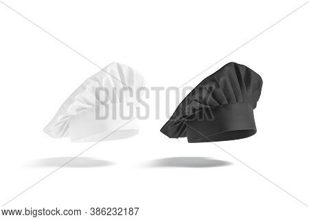 Blank Black And White Chef Hat Mock Up, No Gravity, 3d Rendering. Empty Cloth Chief-cooker Dome Mock