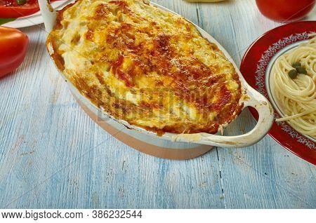 Gatto' Di Patate Con Ragu, Potato With Meat Casserole, Sicilian Cuisine, Traditional Assorted Italy