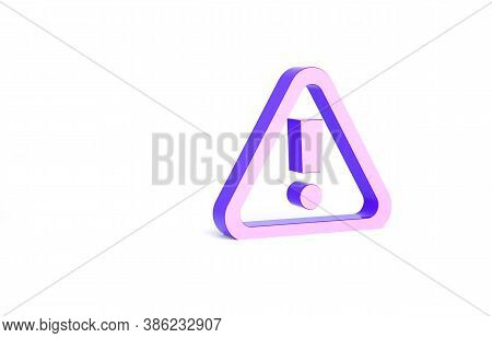 Purple Exclamation Mark In Triangle Icon Isolated On White Background. Hazard Warning Sign, Careful,