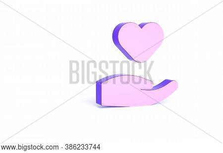 Purple Heart In Hand Icon Isolated On White Background. Hand Giving Love Symbol. Valentines Day Symb