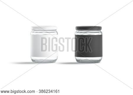 Blank Glass Jar With Black And White Label Mock Up, 3d Rendering. Empty Translucent Storage Tin For