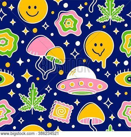 Psychedelic Seamless Pattern. Vector Cartoon Kawaii Character Illustration Icon Design.  Trippy Patt