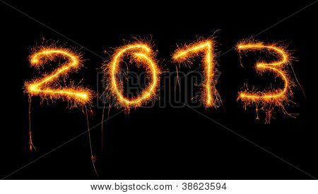 Image of New Year festive fireworks, abstract holiday background, beautiful glowing digits on black background, 2013 sparkle numbers in night sky, christmas holiday salute, illuminated ornament