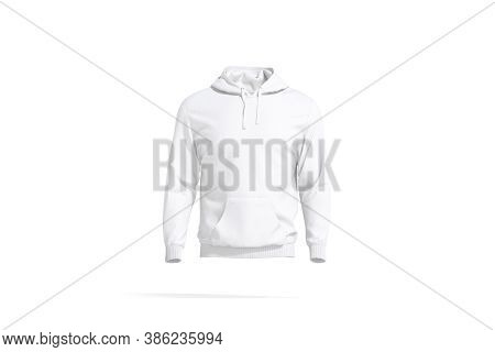 Blank White Sport Hoodie With Hood Mock Up, Front View, 3d Rendering. Empty Cloth Pullover Or Hoody