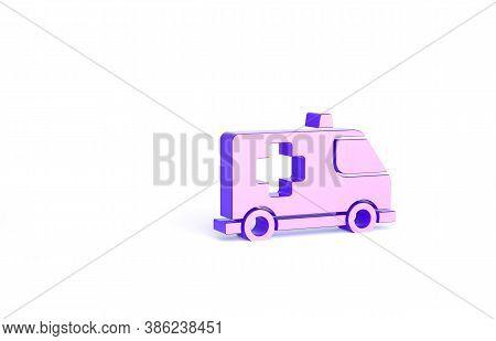 Purple Ambulance And Emergency Car Icon Isolated On White Background. Ambulance Vehicle Medical Evac