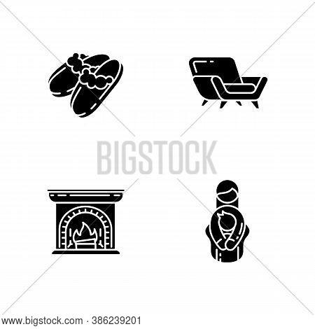 Cozyness Mood Black Glyph Icons Set On White Space. Danish Hygge Style. Family Embrace. Wood Burning