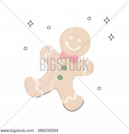 Gingerbread Man. Gingerbread Christmas Cookies With Icing. Homemade Confectionery. Vector Simple Fla