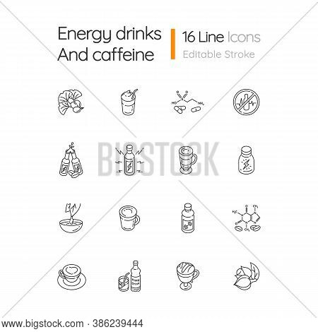 Energy Drinks And Caffeine Linear Icons Set. Ginkgo Biloba. Scientific Formula Of Compound. Coffee M