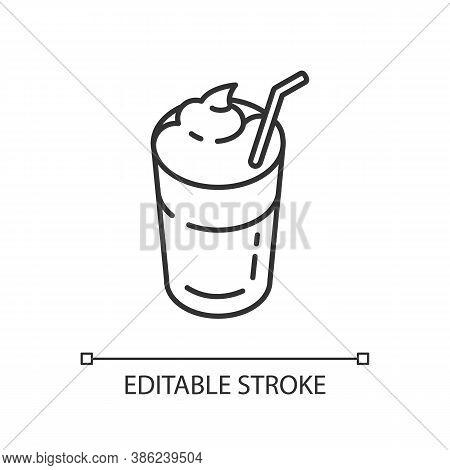 Mocha Linear Icon. Coffee Drink With Foam And Straw. Beverage In Glass Mug. Cafe Menu. Thin Line Cus