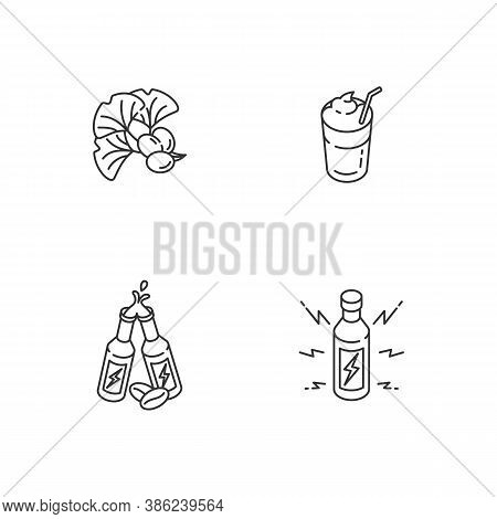 Caffeinated Drinks Linear Icons Set. Ginkgo Biloba Ingredient. Coffee Mug. Energy Alcoholic Drink. C