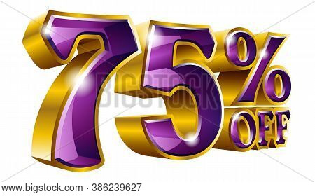 75% Off - Seventy Five Percent Off Discount Gold And Purple Sign. Vector Illustration. Special Offer