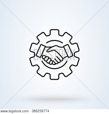 Smart Contract Setup Gear Sign Icon Or Logo Line. Smart Contract  Concept. Business Contract And Han