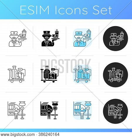 Railway Services Icons Set. Linear, Black And Rgb Color Styles. Professional Stewart Service, Passen