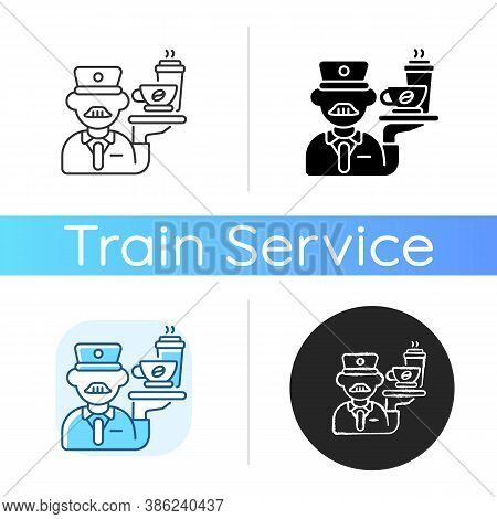 Stewart Icon. Linear Black And Rgb Color Styles. Railway Service, Comfortable Railroad Travel. Profe