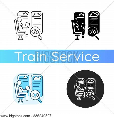 Observation Car Icon. Linear Black And Rgb Color Styles. Train Seats With Good View. Comfortable Rai