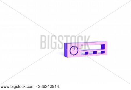 Purple Car Audio Icon Isolated On White Background. Fm Radio Car Audio Icon. Minimalism Concept. 3d