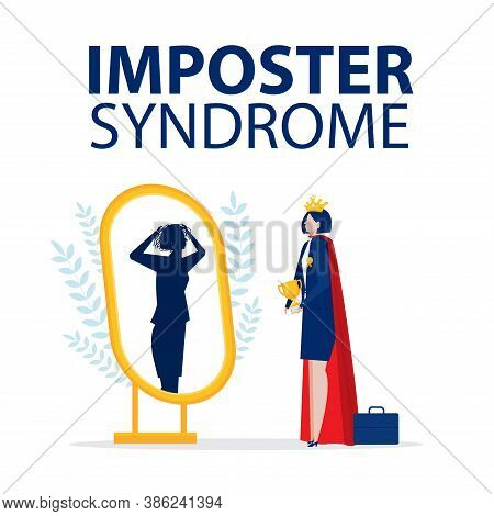 Imposter Syndrome.business Woman Get Award Standing With Mirror And Seeing Themselves As Shadow Behi