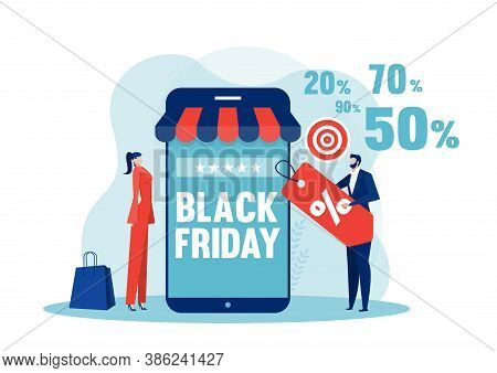Black Friday Shop, People Buying On Super Discount ,shop Online Service, Promo Purchase Marketing