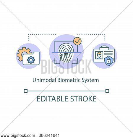 Unimodal Biometric System Concept Icon. Fingerprint, Finger Scan. Identification Innovative Technolo