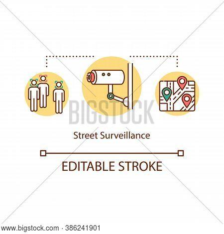 Street Surveillance Concept Icon. Security System Cctv. Detection Of Violators Using Video Camera Id