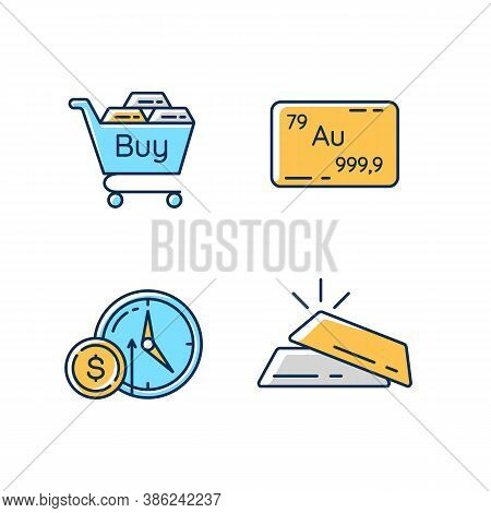Precious Metals Trade Rgb Color Icons Set. Buy Golden And Silver Bullion. Industrial Commodity. Gold