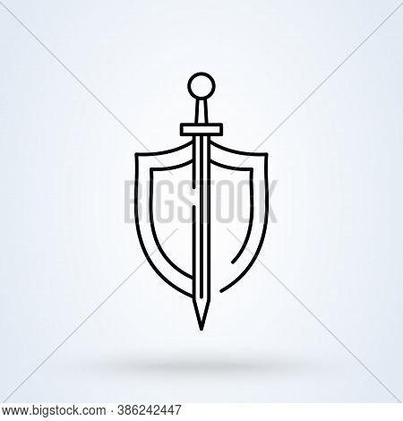 Shield Sword Guardian Sign Icon Or Logo Line. Shield And Sword Concept. Classic Sword And Shield Out