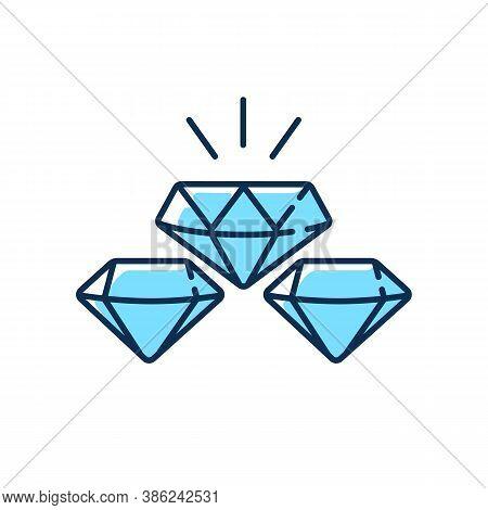 Precious Gems Rgb Color Icon. Gemstones For Jewellery. Luxury Diamond. Treasure For Investment. Glow